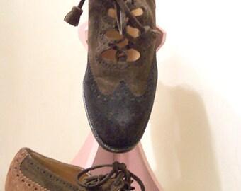 1980s-90s Hermès Shoes Suede Oxford Brogues Womens sz 6 !/2