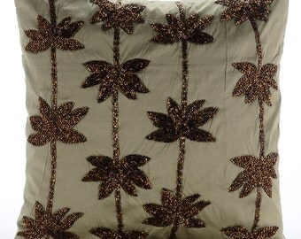 "Designer Sage Green Pillows Cover, 16""x16"" Taffeta Pillow Covers, Square  Zardozi Lotus Flower Antique Pillows Cover - Brown Lotus Dreams"