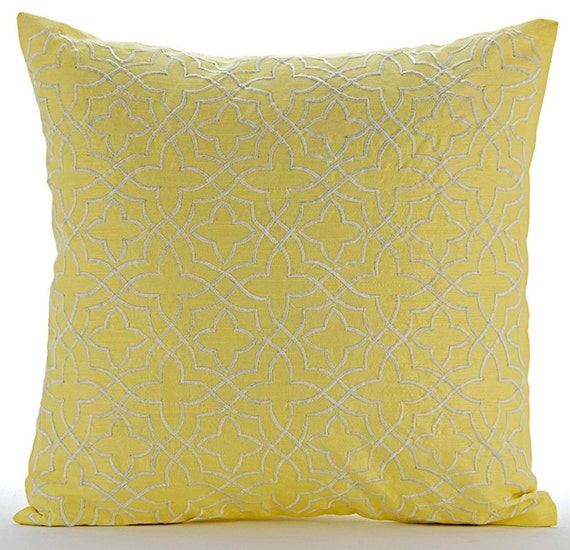 Luxury Decorative Bed Pillows : Luxury Yellow Decorative Pillows Cover 16x16 Silk