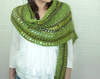Striped Sweater Shades of Green One Sleeved Shawl