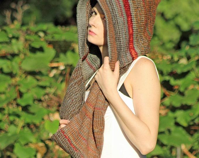 Crochet Earthy Brown Hooded Infinty Scarf Mobius Skood Cowl Great Handmade Gift for Men or Women