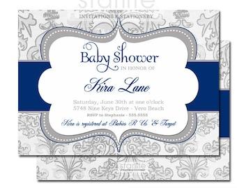 Baby Shower Invitation, navy blue Grey baby boy shimmer sprinkle invite - Personalized Printable Invitation or Printed Invitations