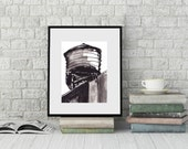 Pen and Ink  Sketch Drawing NYC Water Tower Black and White Print