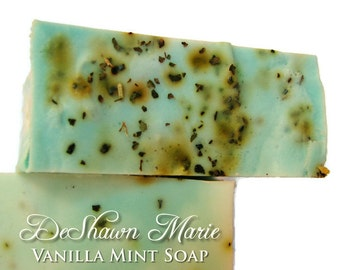 SALE SOAP- Vanilla Mint Soap - Handmade Soap with real mint- Soap Gift