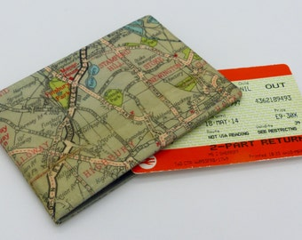 Oyster card holder, bus pass holder, travel card holder,wallet. London map print wallet .Stamford Hill map, card wallet, credit card holder