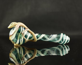 Lizard Large Glass Pipe Hand Blown Thick Wall Spoon in Thunder Fuck & English Ivy, Ready to Ship #221