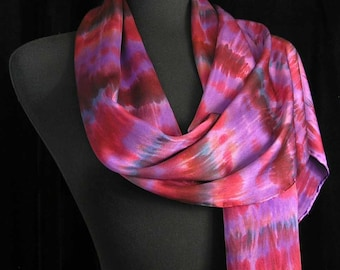 Silk Scarf Hand Dyed Shibori Scarf Red Scarf Unique Gift for Her Valentines Day Scarf - Sugar Plum