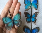 Soft - Handmade Bio Cotton and Silk Organza Teal and Blue Shades Butterflies Hair Bobby Pin - 4 pieces