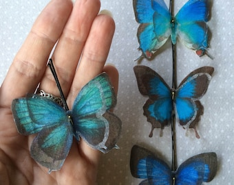 Handmade Butterfly Hair Bobby Pins in Blue Cotton and Silk Organza Fabric - 4 pieces