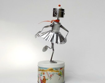 Ice Skater Robot  Fine Art Sculpture Winter Decor Vintage Tin Container