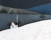 The Quiet of the Night 4 - Archival Art Print - Contemporary Winter Landscape Painting - by Natasha Newton