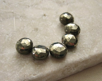 Pyrite Faceted Coin Beads 9mm - 6 Beads