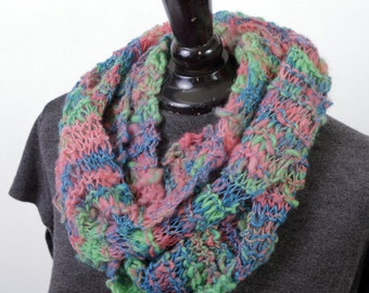 Unique one of a kind hand knit handspun bright multicolored pink green blue scarf - Merino wool bamboo glitz metallic thread
