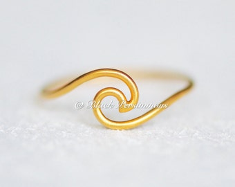 Satin 24K Gold Plated Sterling Silver Vermeil Wave Ring - Insurance Included