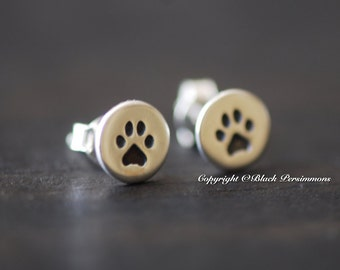 Sterling Silver Paw Print Post Earrings - Solid 925 - Insurance Included