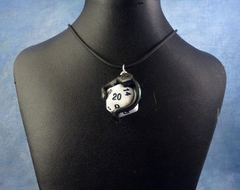 Black and White Dicekeeper Dragon Necklace - D20 Pendant