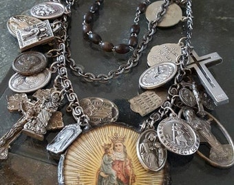 Catholic Saint Medallion Statement Necklace