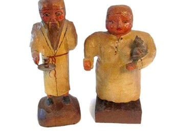 Vintage carved wood folk art figures - Man and woman - Signed - Primitive - Buy as set or individually