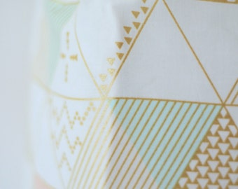 Crib Sheet in Pink, Mint and Gold Metallic Triangle Geometric Custom Crib Bedding- Ready to Ship