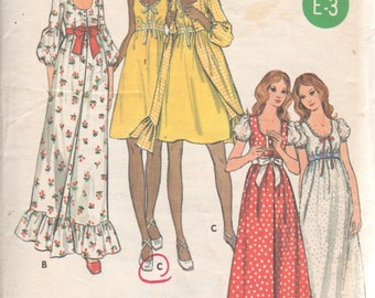 Butterick 6205 1970s Misses Nightgown and Robe Pattern Empire Waist Scoop Neck Womens Vintage Sewing Pattern Size 12 Bust 34 UNCUT