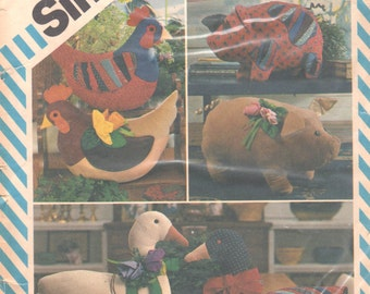 Simplicity 6148 8538 247 1980s Stuffed Animals Pattern Pig Goose Hen Chicken Hen Pattern Vintage Patchwork Designer Toy Sewing Pattern UNCUT