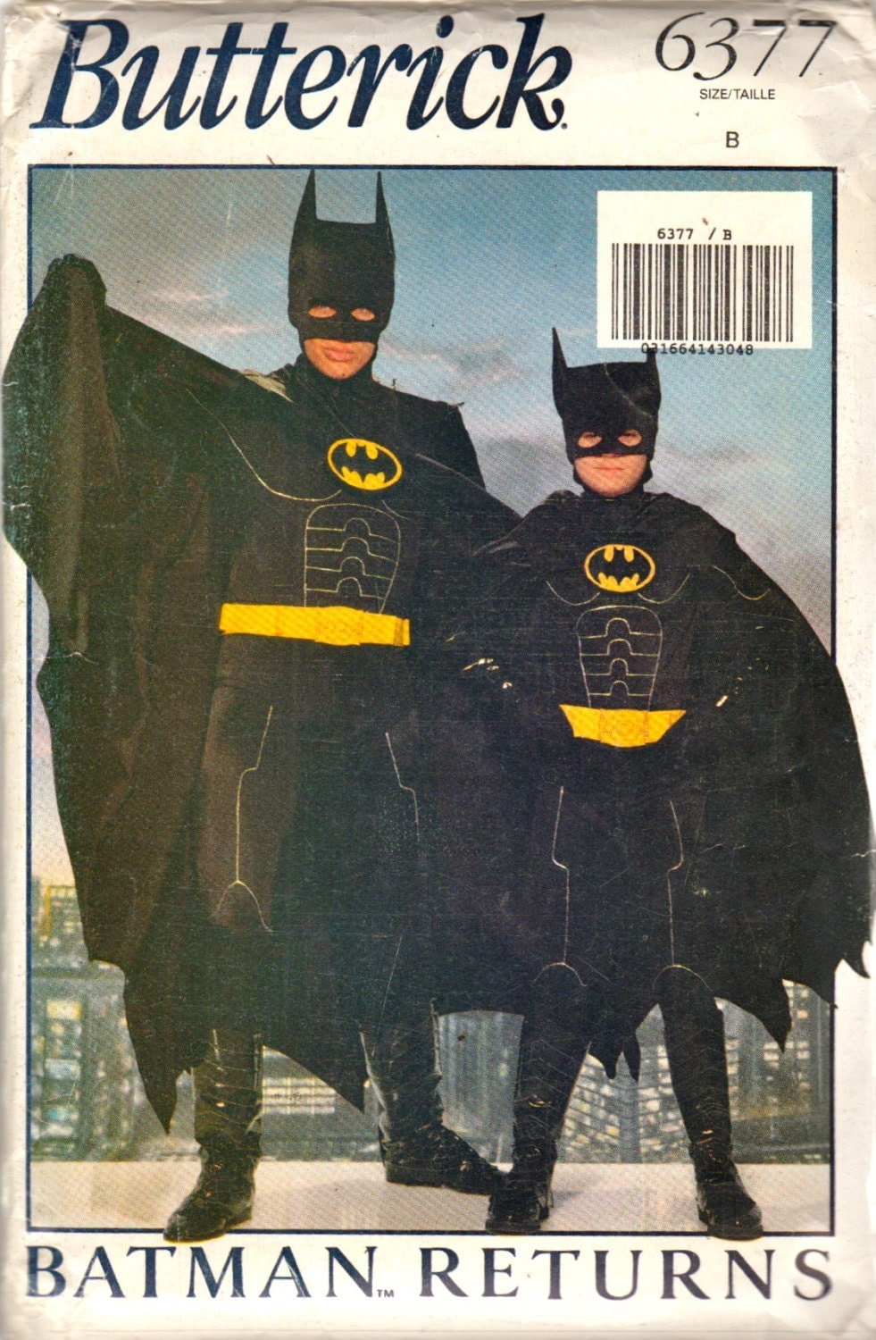 Batman Returns Batman costume pattern - Butterick 6377