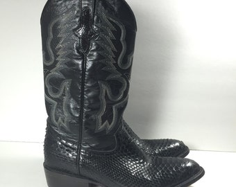 Vintage Exotic Leather Cowboy Boots Black Python Snake Skin Safari Mens size 8.5