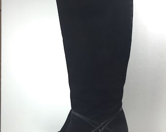 Vintage Black Suede Boots Tall High Heels Bruno Magli size 8