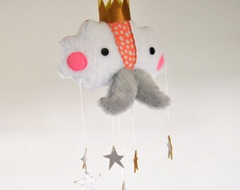 The Cloud Prince // Whimsical Nursery Decor // Cloud and Golden Star Mobile