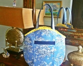 FREE Shipping USA Canada - J Castle Designs StayOver Bag - Blue White Yellow French Toile Waverly Designer Fabric