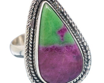 Ruby Zoisite Ring Set In Sterling Silver / Anyolite Ring / Stunning Natural Red Ruby And Green Zoisite / Gemstone Ring 925 / Statement Ring!