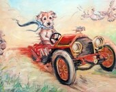 WildRide dog painting, custom Pet Portrait Painting in oils by puci, 18x24""