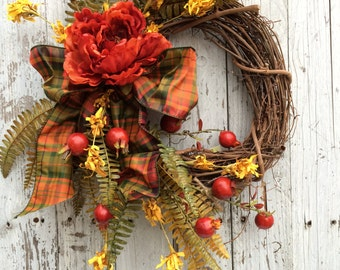 Fall Wreaths for Door, Fall Berry Wreath, Country Fall Door Wreath, Autumn Flower Wreath, Dark Orange Fall Wreath