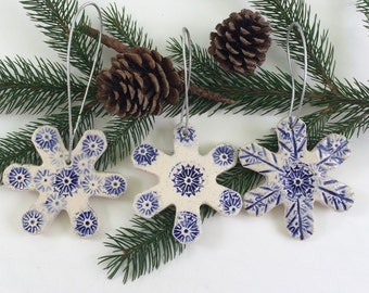 Three Snowflake Handmade Ceramic Christmas Ornaments