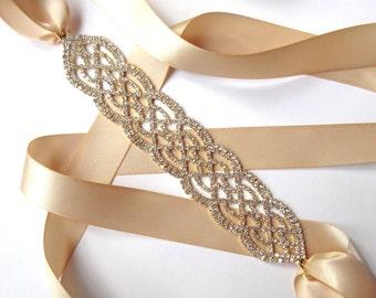 Gold Wedding Dress Sash - Rhinestone Encrusted Bridal Belt Sash - Champagne Ivory White Satin Ribbon - Crystal Wide Wedding Belt