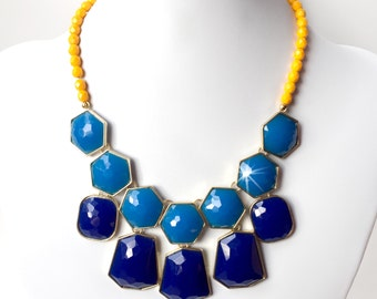 Cobalt Blue and Yellow Statement Necklace in Gold - Czech Glass Beads - Beaded Blue and Yellow Necklace