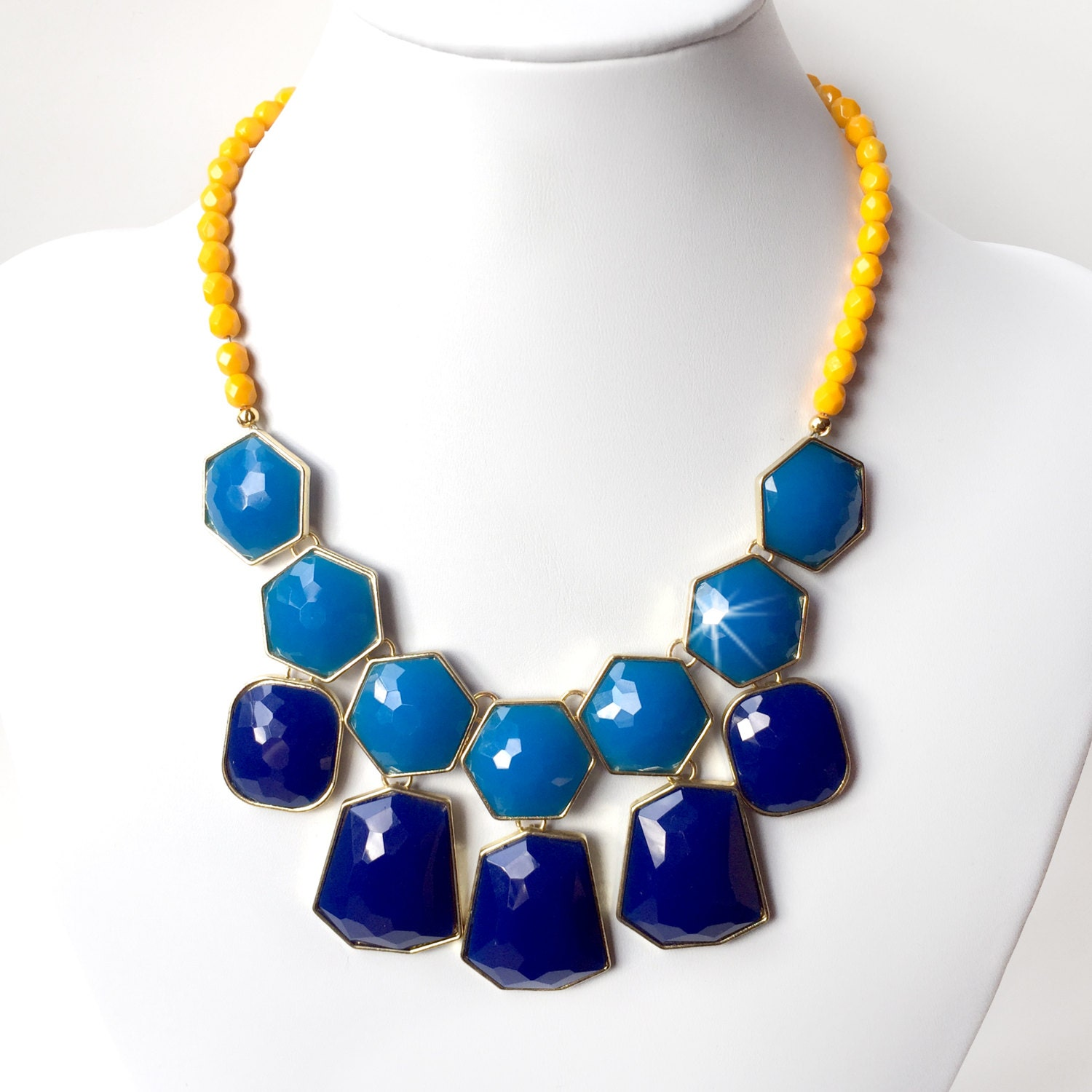 cobalt blue and yellow statement necklace in gold