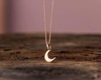 Rose Gold Moon Necklace 14k solid Gold Tiny Crescent Moon Pendant Gift for Her Anniversary gift birthday Gift bridal Dainty necklace lunar