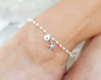 Starfish Anklet, Personalized anklet, Destination wedding, beach wedding, Bridesmaid gift, ankle bracelets, starfish jewelry, otis b jewelry