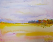 Autumn Landscape Watercolor Painting, Original Art, Meadow and Woods