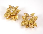 Gold Flower Clip On Earrings Vintage Jewelry Retro Rhinestone