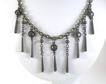 Antiqued Brass Boho Chic Bib Necklace Vintage Jewelry