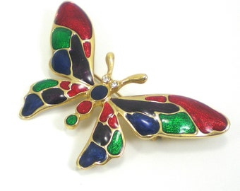 Butterfly Brooch Pin Colorful Enamel Red Green Blue Purple Vintage Jewelry