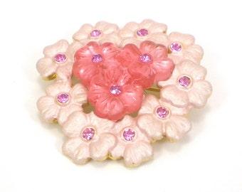 Pink Flower Brooch Pin - Enamel Lucite Rhinestones -  Vintage Jewelry -Blooming Flower