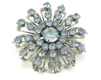 Icy Blue Rhinestone Brooch - Silver Blue Snowflake  - Flower Pin - Vintage Jewelry