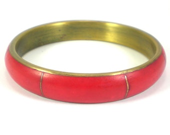 Bone Bangle Bracelet - Boho Hippie - Red Bone Brass Metal - Vintage Jewelry  - Women Accessories