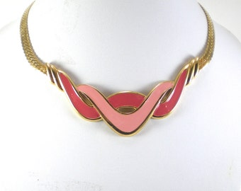 Napier Enamel Necklace - Gold Metal Pink Enamel Necklace - Wave Abstract Mod Modern Vintage Jewelry