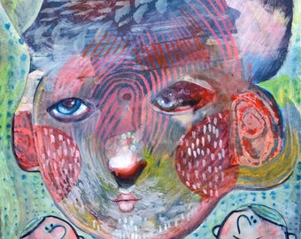 OOAK Original Sky Goddess Painting on Panel