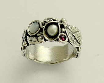 Pearls and garnet ring, leaf ring, mothers ring, sterling silver band, leaves and flowers band, botanical ring - Hint R1700-1