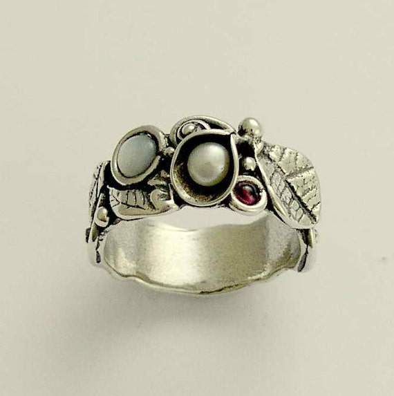 Sterling silver ring,  leaves and flowers band, botanical ring, pearls garnet ring, family ring, leaves ring, mothers ring - Hint R1700-1